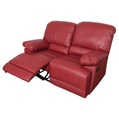 Lea Red Bonded Leather Reclining Loveseat - Corliving