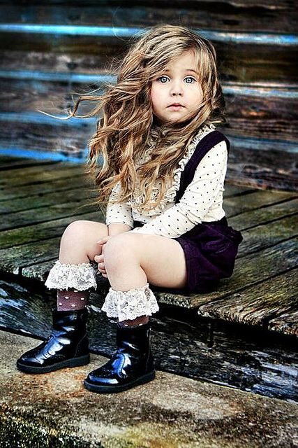 cute overalls, polka-dots, and lace socks.