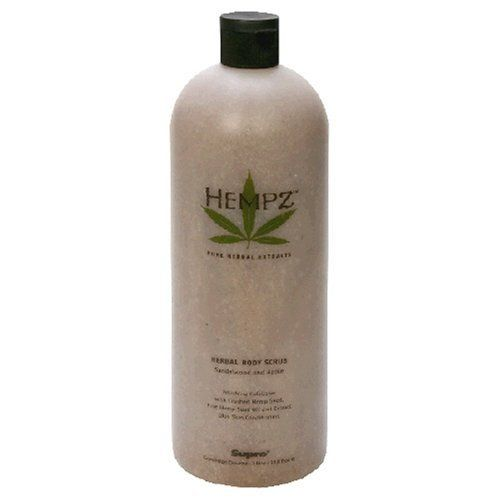Hempz Pure Herbal Extracts Herbal Body Scrub, Sandalwood and Apple, 33.8 fl oz (1 l) by Hempz. Save 46 Off!. $24.75. Hempz Herbal Body Scrub contains micro-exfoliating beads and finely crushed hemp seed which polish the skin as they gently lift away rough, dry, dull skin leaving it smooth, soft and supple. Hemp seed oil and extract quickly moisturizes and conditions the skin helping to instantly counteract contributing factors that produce dry skin. Made in USA.