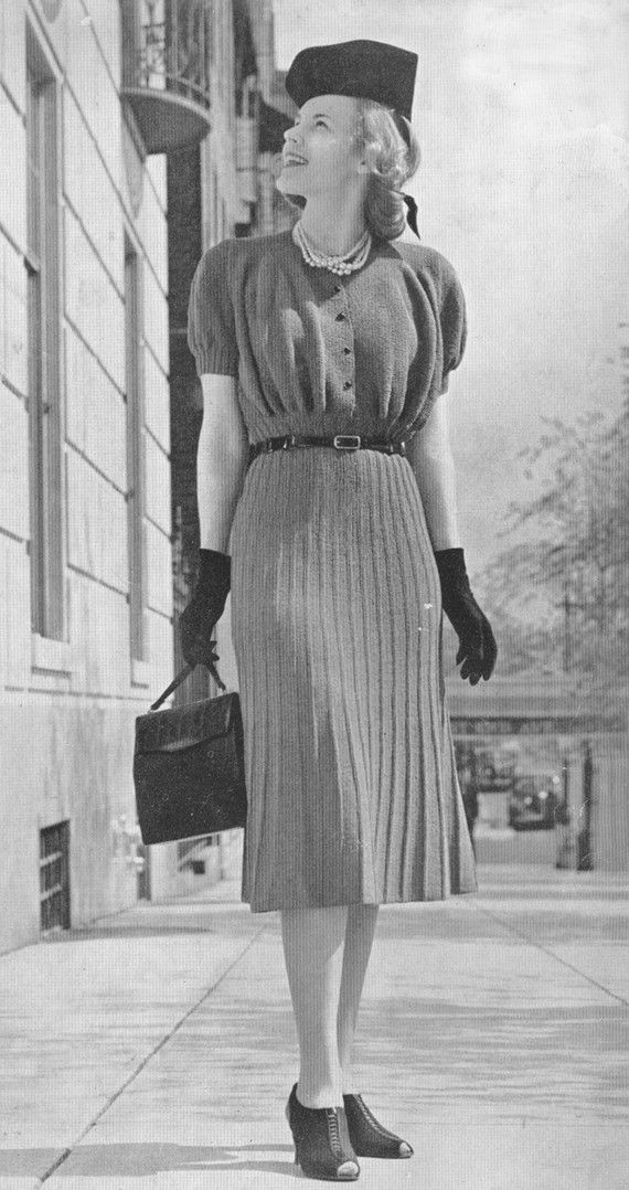 1930s sweater, gloves, shoes, hat, hair & purse