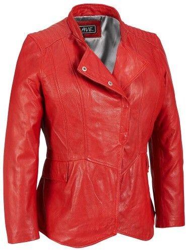 Wilsons Leather Womens Plus Size Milwaukee Leather Asymmetric Peplum Leather Jacket W/ Flap Pockets