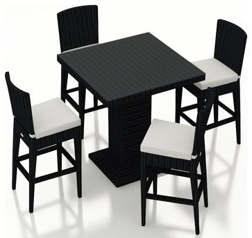Urbana 5 Piece Wicker Bar Chair Set, Canvas Natural Cushions - contemporary - Outdoor Pub And Bistro Sets - PatioProductions