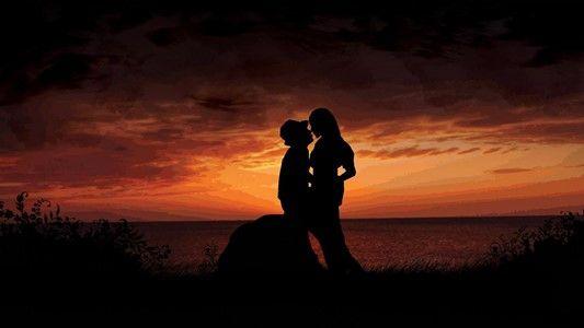 Couple love sunset HD Images at Hdwallpapersz.net