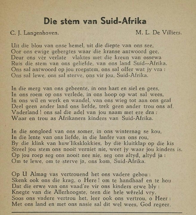 Die Stem v Suid-Afrika