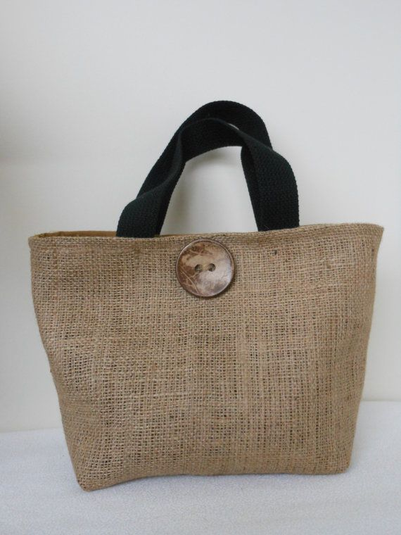 Natural Burlap  Tote Lunch Bag with Organic Button. $15.00, via Etsy.