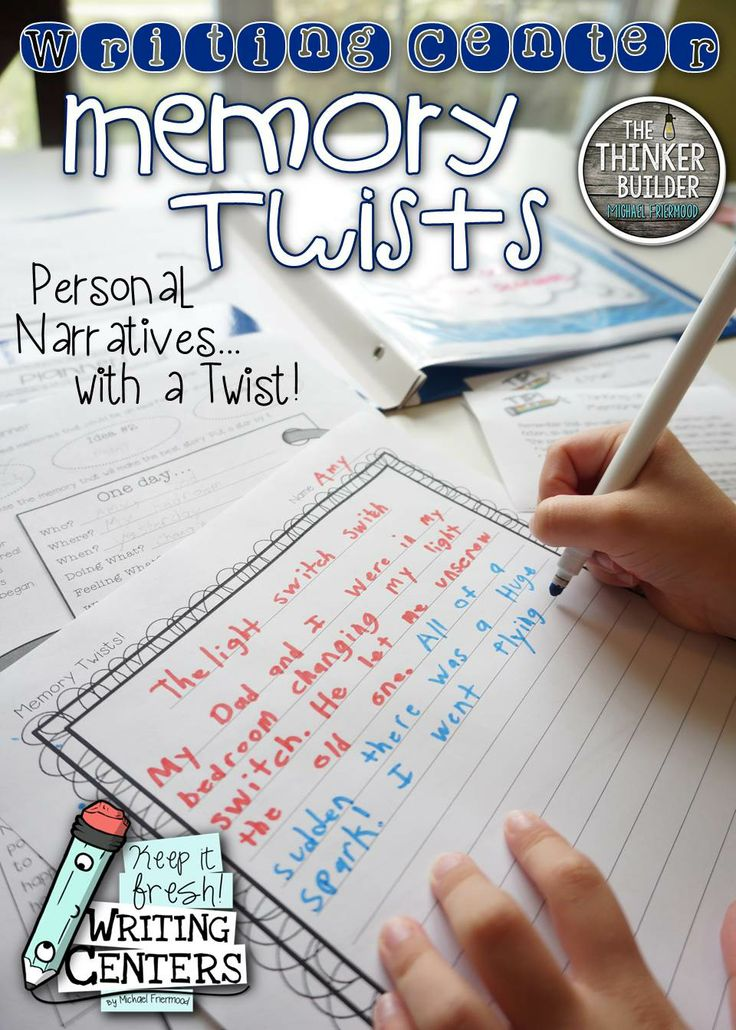 """FREEBIE: Memory Twists is a """"Keep It Fresh! Writing Center"""" and is totally FREE. Students begin writing a personal narrative and then """"twist"""" the memory into fiction!"""