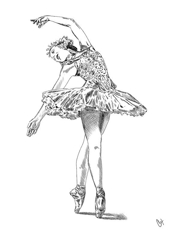 Ballerina Illustration (Print) Available in Black & White