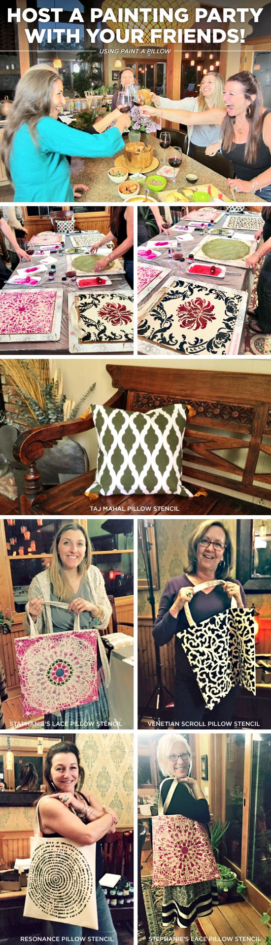 Cutting Edge Stencils shares how to host a Paint-A-Pillow craft night to make DIY accent pillows. http://paintapillow.com/index.php/paint-a-pillow-6-pillow-party-kit.html