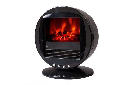 Cheminée design rétro noire Firebowl. Un chauffage d'appoint très agréable et un look moderne
