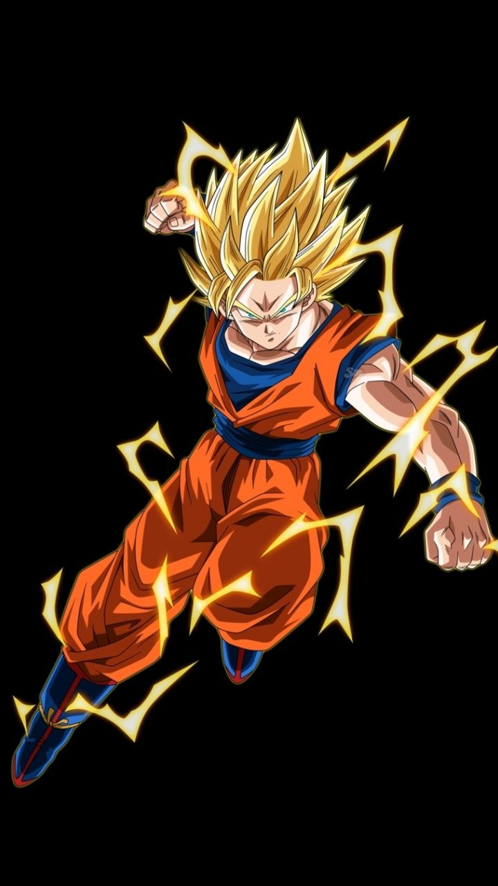 Goku Lightning Power Artwork Minimal 720x1280 Wallpaper Dragon Ball Wallpapers Dragon Ball Super Goku Goku Artwork