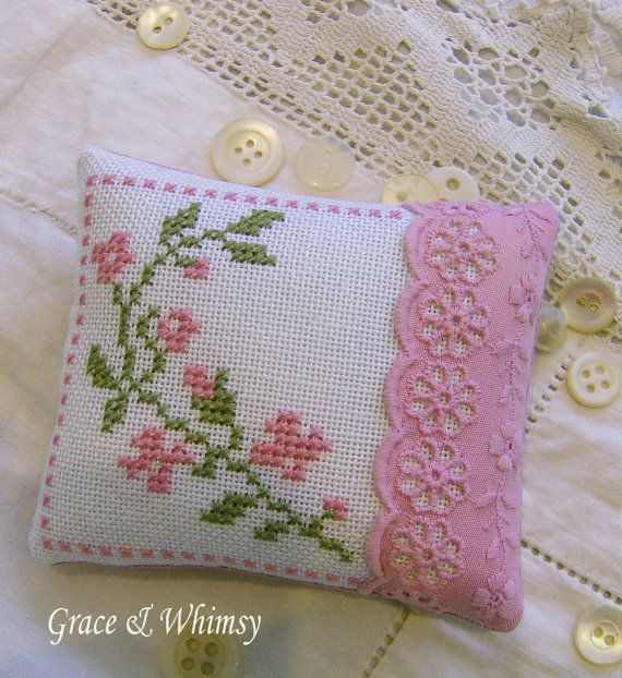 Floral cross stitch pincushion by GraceAndWhimsy on Etsy, $18.00