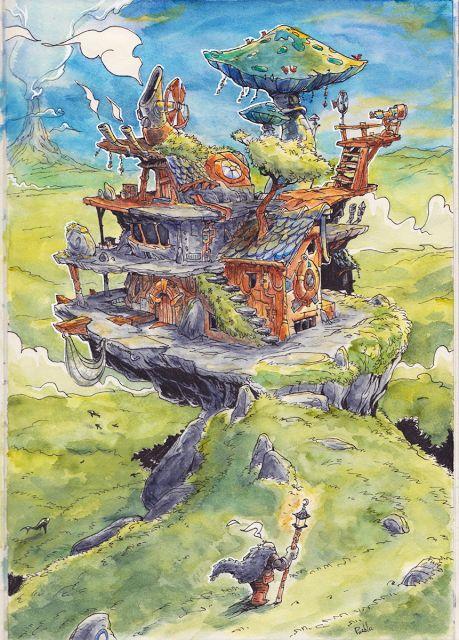 Magic mecanician house fantasy atelier art by LePueblo Blog BD