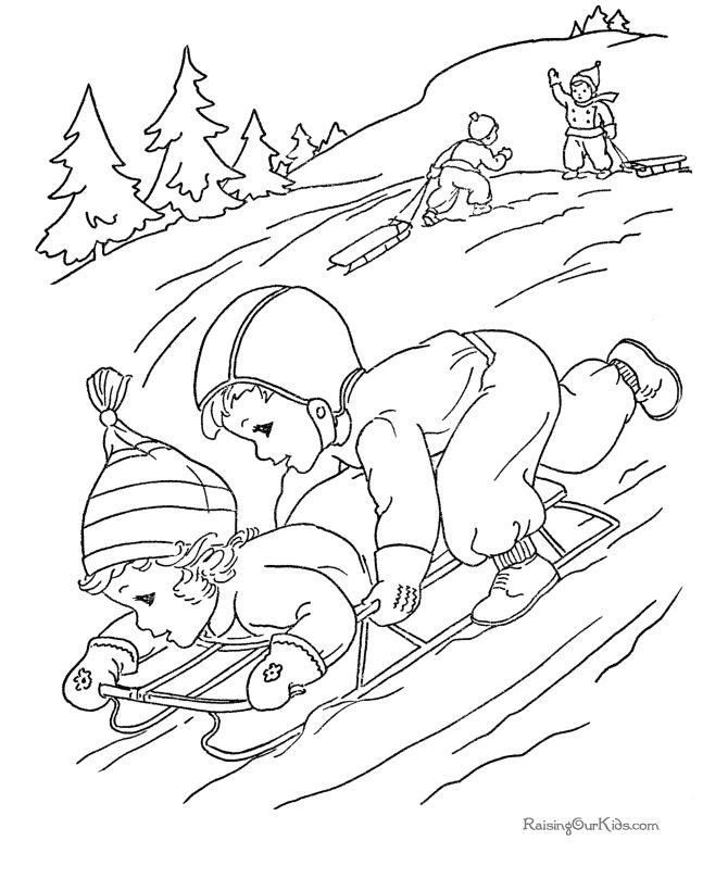 Free Printable Christmas Coloring Sheets of Sledding!