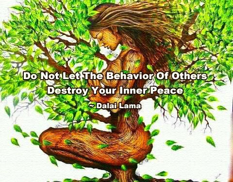 Do not let the behavior of others destroy your inner peace. ~ Dalai Lama