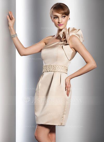 Forme Fourreau Encolure asymétrique Court/Mini Satiné Robe de mariée avec Emperler Robe à volants (002011542)