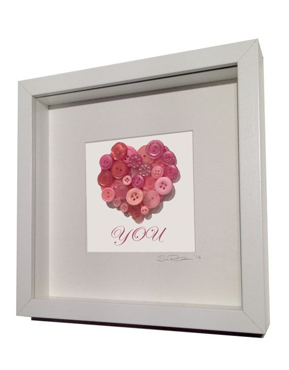 Pink Button Heart 'Love You' Framed Gifts by KittyandKobi on Etsy