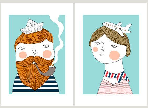 Bon voyage prints 8 x 11.5 A4 by depeapa on Etsy, $48.00