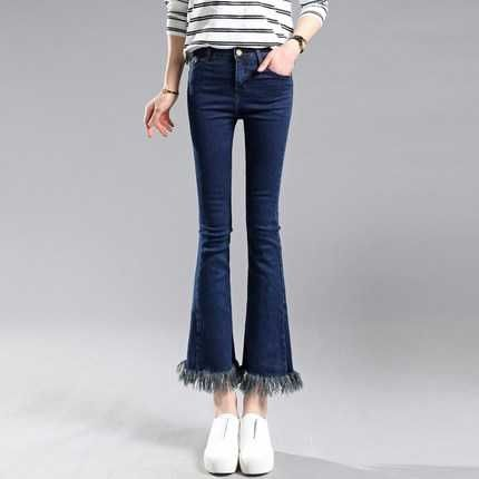 43.39$  Buy here - http://alinni.worldwells.pw/go.php?t=1000001392798 - 2016 Korean Version Tassel Flare Jeans Woman Pants Summer Style Ladies Elastic Trousers Fashion Women Jeans A3209