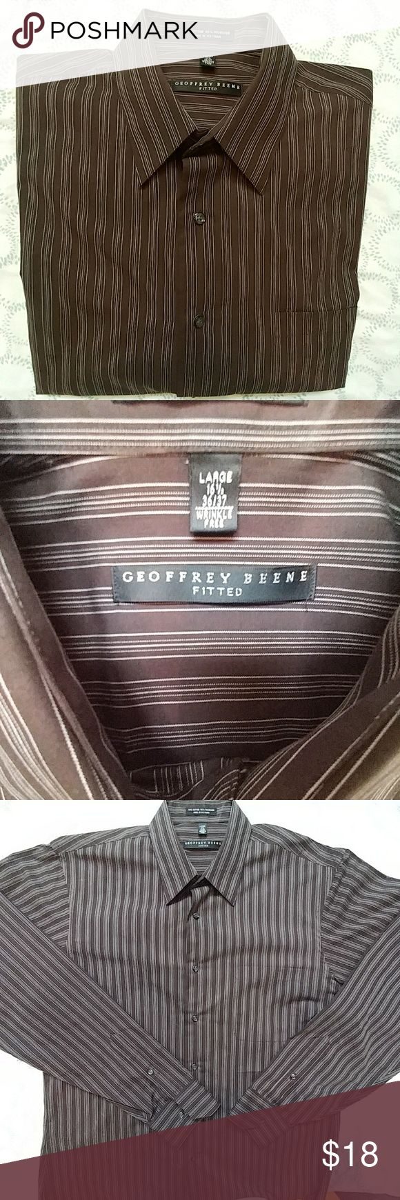 🔥🔛Geoffrey Beene brown long sleeve dress shirt🔥 Fitted long sleeve shirt with cream lines. Sleeve length is 36/37. 60% cotton & 40% polyester. Worn once, in excellent condition. Geoffrey Beene Shirts Dress Shirts