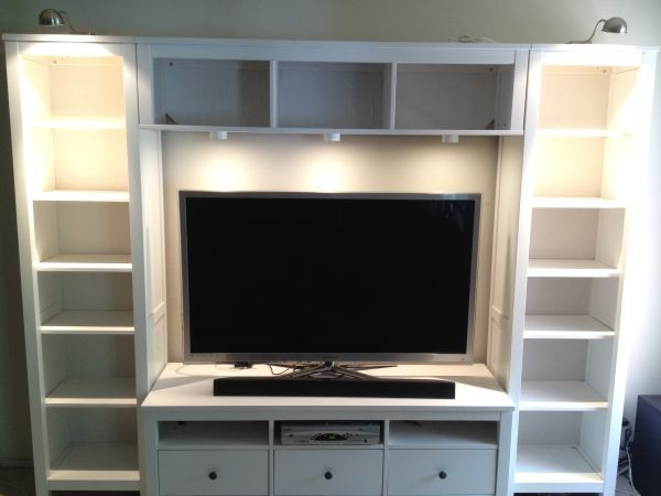 Ikea hemnes entertainment center living room pinterest Ikea media room ideas