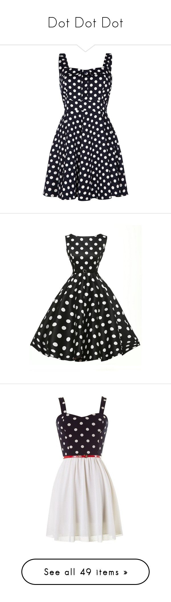 """""""Dot Dot Dot"""" by mrseclipse ❤ liked on Polyvore featuring dresses, vestidos, short dresses, clearance, navy, mini dress, blue polka dot dress, polka dot dress, blue dress and black"""