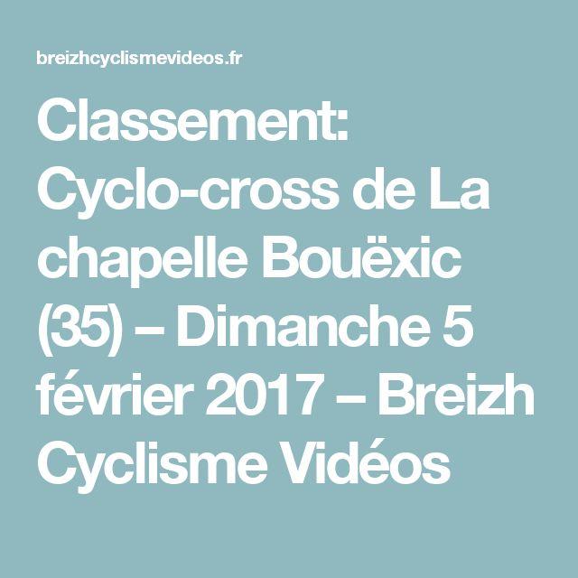 Classement: Cyclo-cross de La chapelle Bouëxic (35) – Dimanche 5 février 2017 – Breizh Cyclisme Vidéos