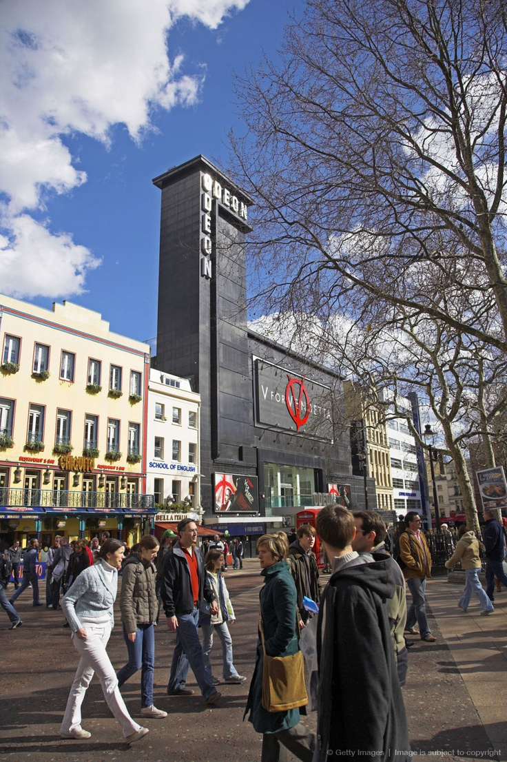 London. Leicester Square is the centre of Londons cinema land.