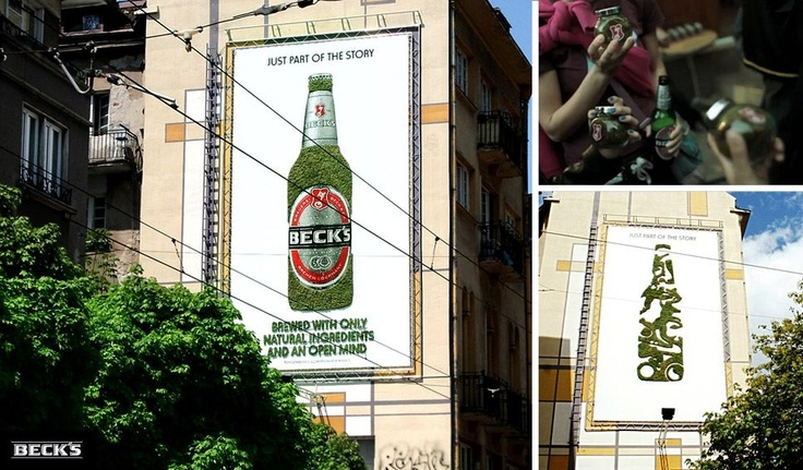 How amazing is this! Green marketing. Literally! The Beck´s bottle is made of moss... by greengraffiti.com Beck's moss advertising