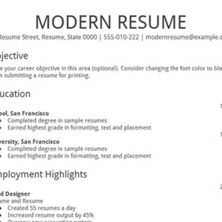 resume text format