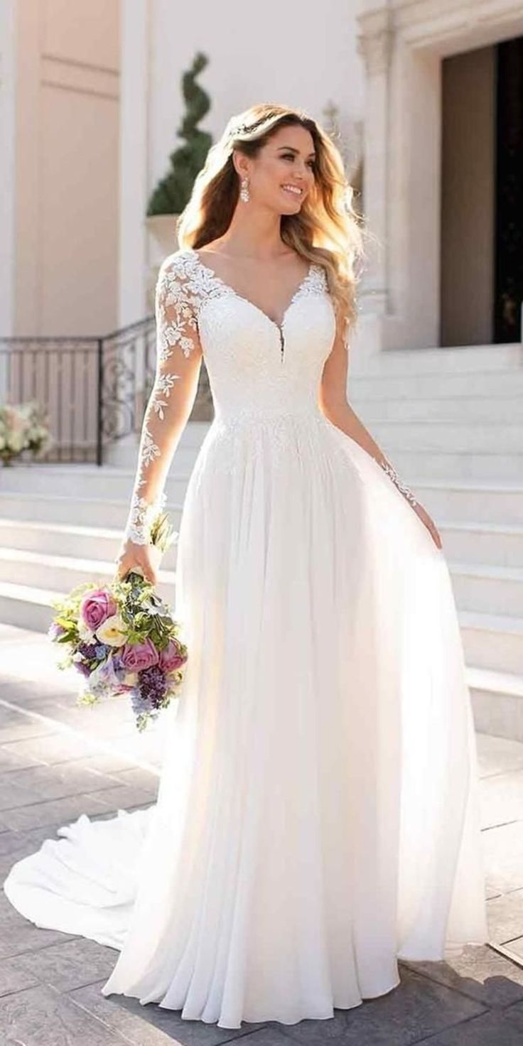 White Wedding Dresses,Long Sleeves Bridal Dresses,Lace Chiffon Bridal Wedding Dr…