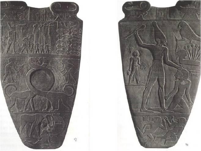 Narmer Palette  나르메르 팔레트    하토르 여신상 -> 윗부분 소머리가 이 여신을 상징한다.  호루스 신 -> 매의 모습을 하고 있다.   왕을 황소의 모습으로 보여줌  이 팔레트는 왕의 업적을 기념하기 위해 만들어진 것으로 신과 함께 있는 왕의 모습이 사람들이 숭배하는 신이 왕과 접촉한다는 것을 보여주며 함께 왕의 위대함을 보여준다.  1898 년 상이집트 히에라콘폴리스에서 발견된 의식용 팔레트이다. 정판암제로 만들어졌으며 카이로 박물관의 소장이다. 앞면에 상이집트의 백색 왕관을 쓴 나르메르 왕이 하이집트의 파필스를 정복하는 모습이 있다. 뒷면에는 하이집트의 빨간 왕관을 쓴 나르메르 왕이 있다. 뒷면 중앙에 보면, 긴 목의 동물이 있는데 이 동물은 두 지역의 관계를 나타낸 것이다. 상이집트 왕이 하이집트를 정복해서 처음으로 이집트 통일 국가를 이룩한 역사적 사건을 상징적으로 나타낸 작품이다.