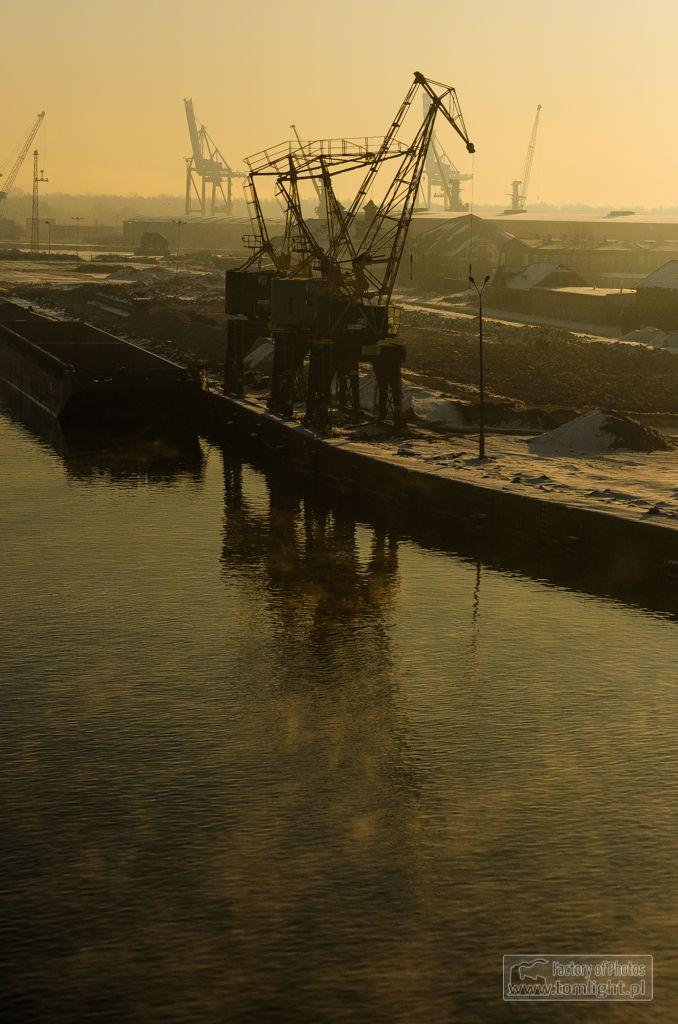 Morning in port Szczecin Łasztownia - a small island in the center of Szczecin