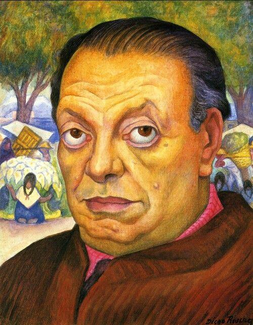 Diego Rivera, 1949, Zelfportret, privé collectie. De Mexicaanse schilder liet zich tijdens zijn periode in Europa beinvloeden door het Kubisme. 'I've never believed in god, but I believe in Picasso'. Na terugkeer in Mexico laat hij deze stijl echter geheel achter zich en raakt hij geïnspireerd door zijn eigen cultuur en politieke idealen. Diego maakte zowel enorme, vaak politiek georiënteerde muurschilderingen als intieme portretten. Sociaal Realisme, Muralisme.