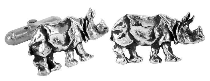 Rhino cufflinks in sterling silver