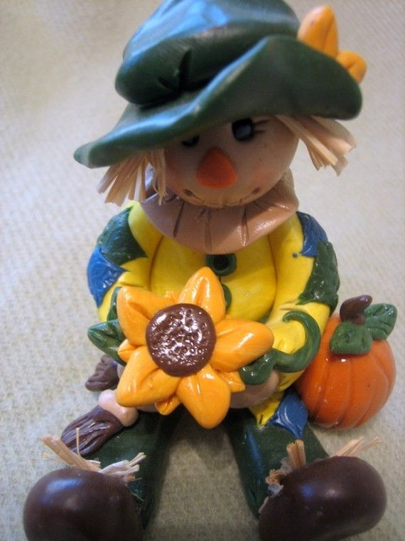 Polymer Clay Scarecrow Holding Sunflower by trinasclaycreations, $35.00
