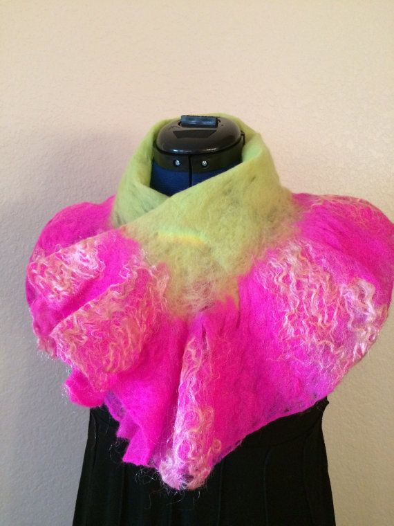 Hand felted scarf fiber art scarves and wraps by FancyFancies