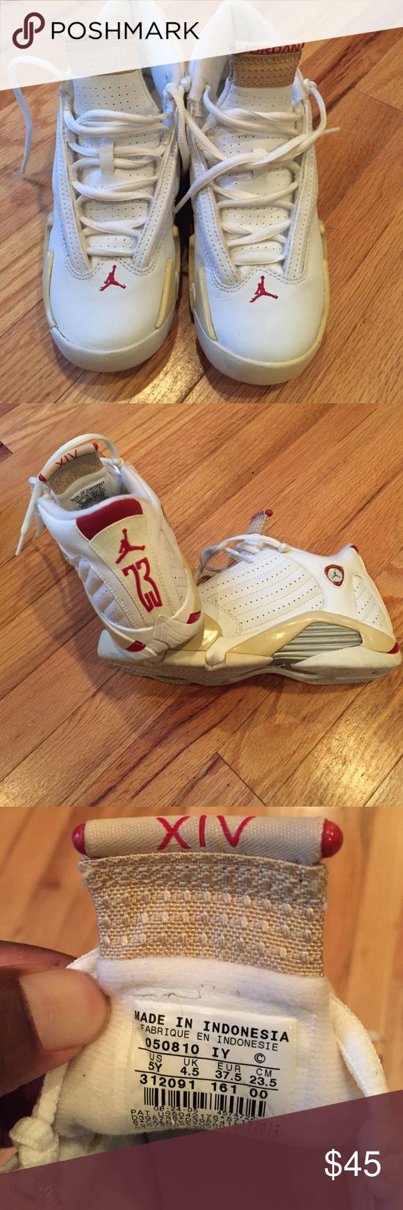 Jordan XIV - 5Y - Tan White Red 5 Youth Jordan XIV - Never Word - Only On Mannequin Display - Can Be Women's Or Kids Jordan Shoes Sneakers