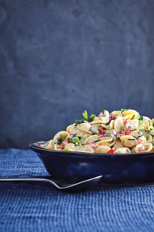 Creamy Pasta Salad. This all-American cookout favorite is often very heavy on the mayonnaise and even sugar. Here, we've opted for canola mayonnaise and a bit of light sour cream.