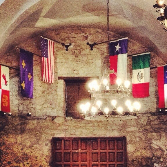 Inside The Alamo. The Six Flags that have flown over Texas.  Can you name them?