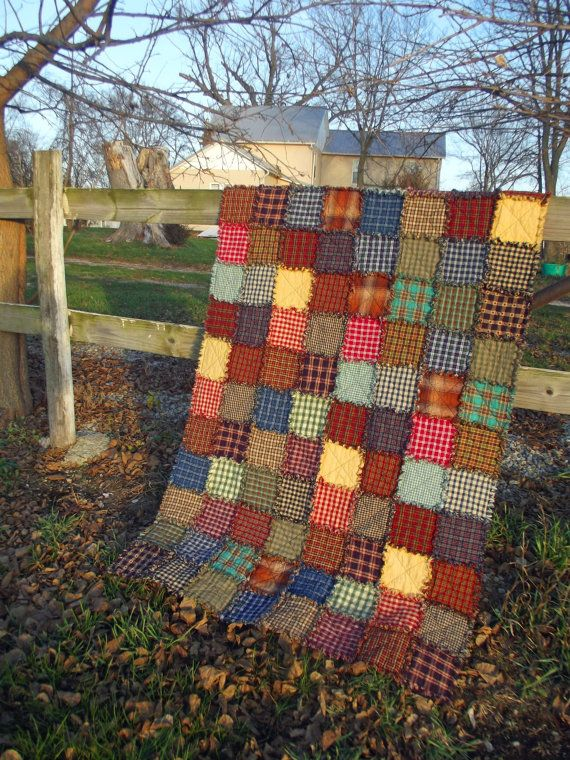 Rustic Rag Quilt Throw Extra Long Ready by