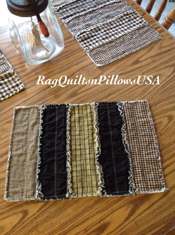 Black Farmhouse Placemats Set 2 Black Rag By RagQuiltsnPillowsUSA.  Farmhouse PlacematsWestern DecorPrimitive DecorTable RunnersIron
