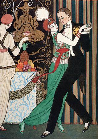 1920s Art Deco Dancers Barbier Fashion Vintage Poster Print