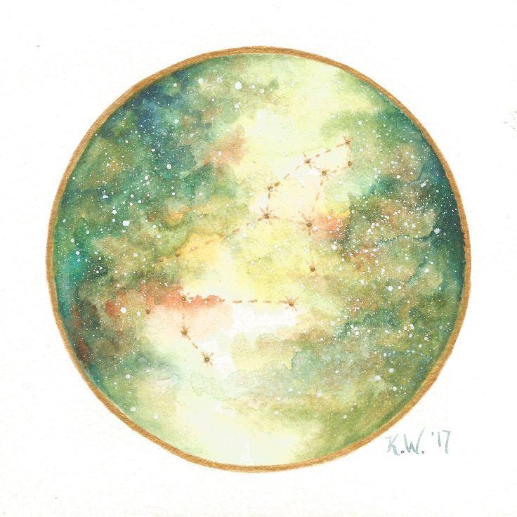 Leo Zodiac Sign | Constellation | Watercolor Galaxy | Art Print by Kari Weatherbee
