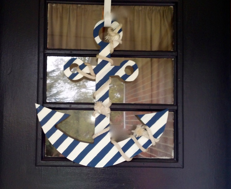 Shabby chic nautical anchor door decoration via for Anchor decoration for the home