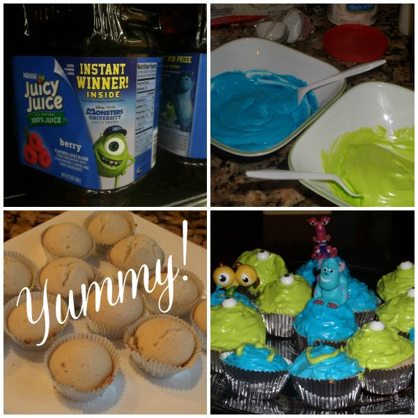 Monsters University Cupcakes Made with Juicy Juice #MUJuice