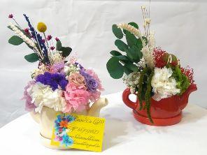 teteras con flores preservadas.las cosas de lur.floristerias madrid