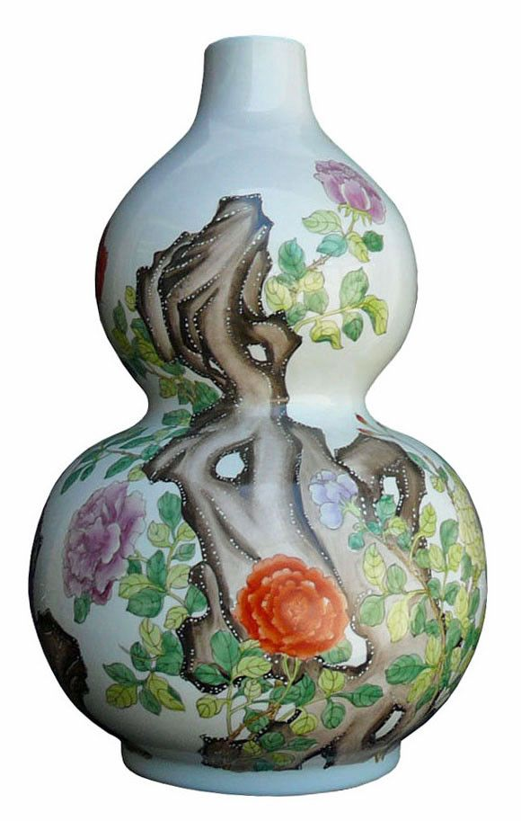 Asian Lucky Porcelain Wu Lu Gourd Shape Scenery Flowers Painting Vase fs768S