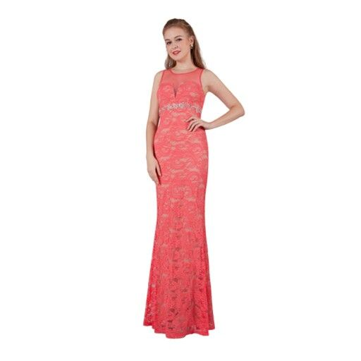 Love the classic mermaid style and love this melon lace formal dress.