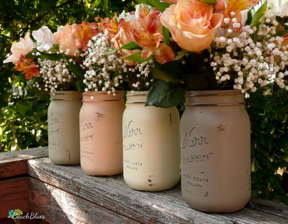Pumpkin Patch Fall, Thanksgiving Decor, Hostess Gift, Painted Mason Jars, Vase, Centerpiece on Etsy, $32.00