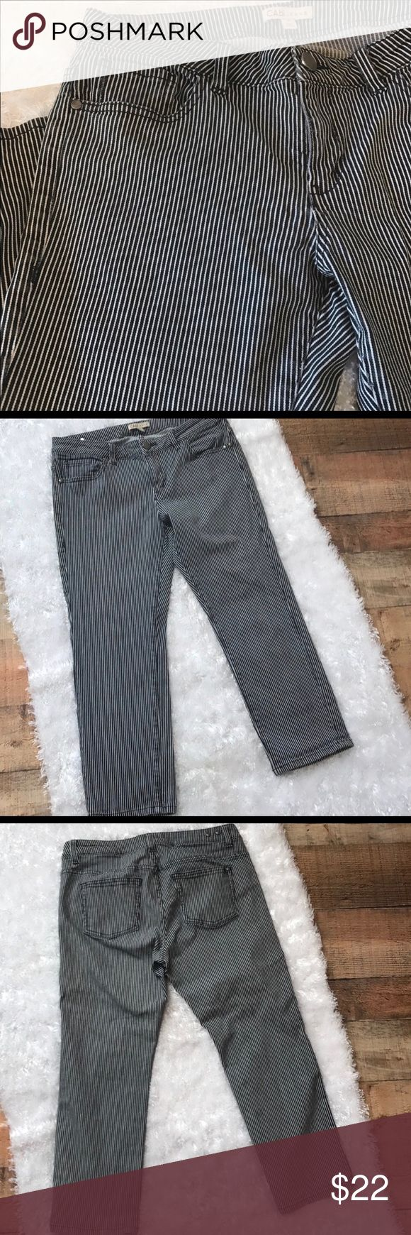 """⤵️ $22 CAbi Engineer Stripe Cropped Jeans Railroad Pinstripe Jeans Sz 8 Cotton Blend snazzy detail  5 pocket  Length approx 33""""  Inseam 25"""" Waist 34 """" Rise 9"""" Hem 14"""" Capri Cropped  Gently used with no flaws. #324 CAbi Jeans Ankle & Cropped"""